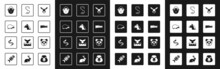 Set Rabbit Head, Horse, Hedgehog, Monkey, Crocodile, Worm, Cute Panda Face And Snake Icon. Vector