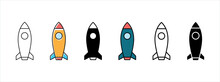 Rocket Vector Icon Set. Launch Symbol Icons. Launcher Sign Icon Vector Stock
