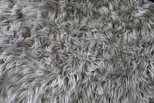 Closeup Detail Of Thick Gray Shag Carpet