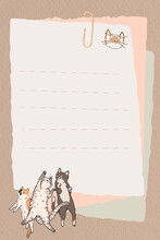 Cat Lover Pattern Lined Note Paper Template Vector