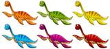 Fototapeta Dinusie - Set of pliosaurus dinosaur cartoon character