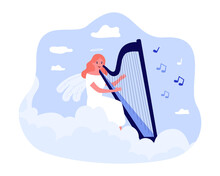 Cartoon Angel Playing Harp Flat Vector Illustration. Girl With Wings And Halo Above Her Head Engaged In Music Sitting On Cloud In Sky. Religion, Music, Heaven, Hobby, Inspiration Concept For Design