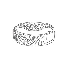 Continuous One Line Drawing Ice Hockey Puck Closeup. Ice Hockey Season Concept, Close Up. Hockey Puck. Black Ice Hockey Puck. Swirl Curl Style. Single Line Draw Design Vector Graphic Illustration