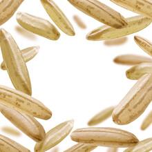 Raw Rice Levitates On A White Background
