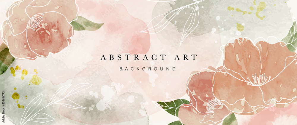 Autumn flower watercolor art background vector. Wallpaper design with floral paint brush line art. leaves and flowers nature design for cover, wall art, invitation, fabric, poster, canvas print. - obrazy, fototapety, plakaty