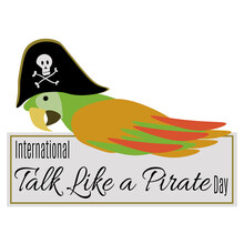 International Talk Like A Pirate Day, Idea For A Postcard Or Banner, A Parrot In A Pirate Hat