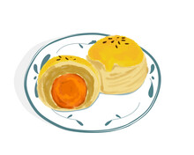 Shanghai Mooncake With Salt Egg Yolk On White Plate. Isolated Plate Of Mooncake Whole And Half On White Background. Hand Drawing Vector Illustration. Asian Food, Mid Autumn Festival.