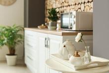 Stylish Tea Set On Light Kitchen Background