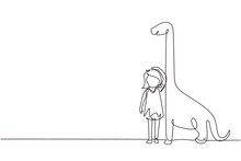 Single One Line Drawing Little Girl Measuring Her Height With Brontosaurus Height Chart On Wall. Kid Measures Growth. Child Measuring Height. Continuous Line Draw Design Graphic Vector Illustration