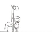 Continuous One Line Drawing Little Girl Measuring Her Height With Giraffe Height Chart On Wall. Kid Measures Growth. Child Measuring Height Concept. Single Line Draw Design Vector Graphic Illustration