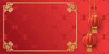 Chinese New Year. Hanging Asian Red Traditional Realistic 3d Lantern On Red Background. Template For Greeting Cards, Flyers, Invitation, Posters, Brochure, Banners, Calendar. Vector Illustration