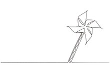 Single Continuous Line Drawing Paper Windmill. Origami Paper Windmill. Playing Equipment Depicting Toy Pinwheel. Children's Toy Rotating In The Wind. One Line Draw Graphic Design Vector Illustration
