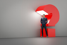 Man With Huge Red Question Mark Light Background