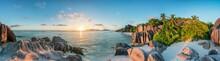 Sunset Panorama At Anse Source D'Argent Beach, La Digue, Seychelles
