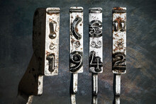 Vintage Old Typewriter Hammers With The Date 1942  Isolated