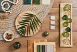 Fototapeta Kawa jest smaczna - Flat lay of creative architect moodboard composition with samples of building, orange textile and natural materials and personal accessories. Top view, template.