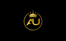 Simple And Creative Logo Design By AU Letter With Crown