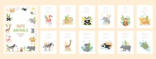 Calendar 2022 With Cute Wild Baby Animals In Cartoon Style. Set Of 12 Month Vector Illustrations, Zoo Characters, Birds, Children Design Concept. Jungle Leaves, Plants, Clouds. Cover And Pages
