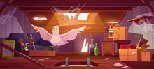 Doves In Abandoned Attic With Old Things, Ladder In Hatch, Roof Window And Furniture. Pigeons Live On Dilapidated Mansard Or Garret Place With Spider Webs And Antique Stuff Cartoon Vector Illustration