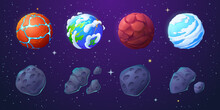 Earth, Alien Planets And Asteroids In Outer Space With Stars. Vector Cartoon Set Of Stone Meteorites With Craters And Unusual Planets With Water, Cracks And Clouds