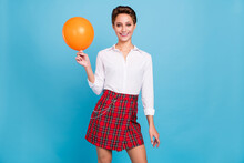 Photo Of Cute Blond Young Lady Hold Balloon Wear Shirt Skirt Isolated On Blue Color Background
