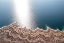 Dead Sea Coastline And Unique Terrain, Aerial View.