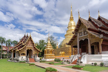 Beautiful Panorama View Of Ubosot And Golden Stupa Inside Compound Of Famous Landmark Wat Phra Singh Buddhist Temple, Chiang Mai, Thailand