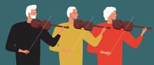 Violin Class, Seniors, Flat Vector Stock Illustration With Playing Violin As A Hobby And Trio Orchestra As Creativity