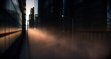 A Look Directly Down A City Street Flanked With Skyscrapers And Lamp Posts Illuminated By A Morning Sun And Dramatic Fog In The Distance - 3D Render