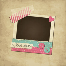Scrapbook Pink Vintage Love Photo Frame With Washi Tape And Torn Paper, Stickers And Buttons