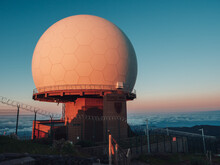 Closeup Of The Meteorological Radar Station During Sunset. Madeira.