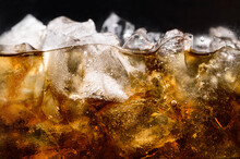Cola In Glass With Clear Ice Cubes