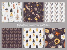 Christmas Set Of Seamless Patterns.