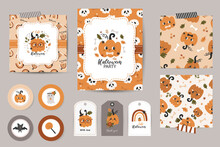 Set Of Halloween Invitations, Thanks Cards, Tags And Seamless Patterns.