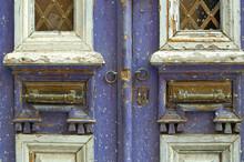 Old Traditional Door, Made Of Wood And Metal. Door In Purple. Monastiraki, Athens