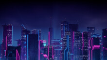 Cyberpunk City Skyline With Blue And Pink Neon Lights. Night Scene With Visionary Skyscrapers.