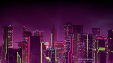 Futuristic City Skyline With Pink And Yellow Neon Lights. Night Scene With Visionary Superstructures.
