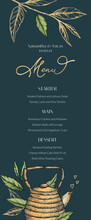 Vector Illustration Of A Menu For Tea Drinking, Weddings, Parties. Tea Leaves, Desserts And Main Dishes On An Elegant Menu With Hearts