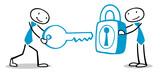 Geschäftsleute lösen lösen Problem mit Schlüssel