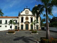 Sao Paolo, Brazil - 11.09.2019: Gold And Green Church In Olinda, Brazil