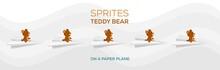 Sprites Of A Teddy Bear On A Paper Plane. Brown Teddy Bear. Flying Teddy Bear