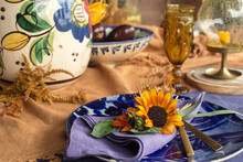 Table Setting, Plate With A Bouquet Of Sunflowers On A Wooden Table ,autumn Decor