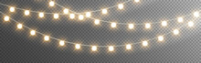 Christmas Lights. Realistic Garlands On Transparent Backdrop. Bright Glowing Elements. Light Bulbs For Greeting Card, Poster Or Web. Vector Illustration