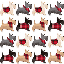 A Cartoon Vector Seamless  Pattern Of Scottish Terrier, Cute Puppies. Dog Character.