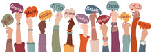 Raised Arms And Hands Of Multi-ethnic People From Different Nations And Continents Holding Speech Bubbles With Text -thank You- In Various International Languages.Communication.Equality