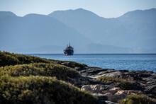 Landscape Overlooking The Sea Coastal Strip And A Sea Ship On The Horizon