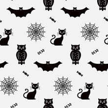 Seamless Pattern For Halloween Silhouettes Of Owls, Cats, Cobwebs And Sweets On White Background. Black And White Vector Illustration.
