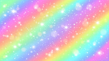 Glitters Rainbow Sky. Shiny Rainbows Pastel Color Magic Fairy Starry Skies And Glitter Sparkles Vector Background Illustration