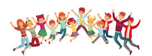Jumping Kids. Excited Childrens Jump Vector Or Exercising Together Illustration Isolated Set