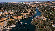 Daytime Aerial View Of The American River And The City Of Folsom, California, USA.